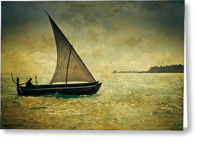 Evgeniya Vlasova Greeting Cards - Maldivian Poetry. Dhoni Boat Greeting Card by Jenny Rainbow