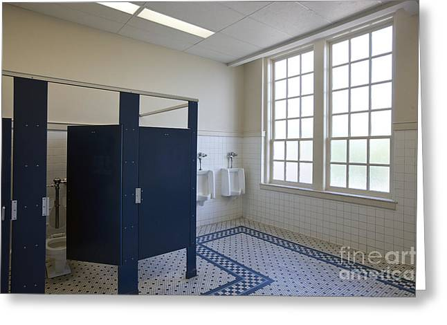 Urinal Greeting Cards - Male Bathroom of a School Greeting Card by Will & Deni McIntyre