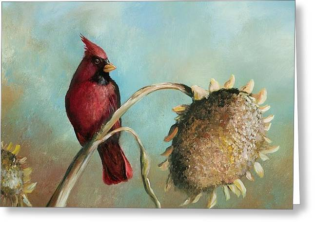 Recently Sold -  - Water Fowl Greeting Cards - Male Cardinal Greeting Card by Jane  Harris