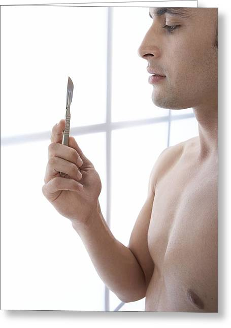 Body Conscious Greeting Cards - Male Cosmetic Surgery Greeting Card by Adam Gault