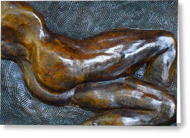 Nude Relief Sculpture Greeting Cards - Male Dancer In Repose Greeting Card by Dan Earle