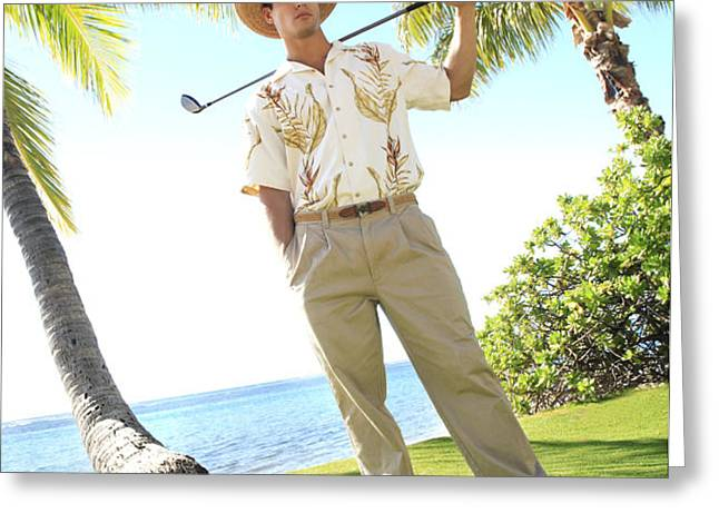 Male Golfer Greeting Card by Brandon Tabiolo - Printscapes