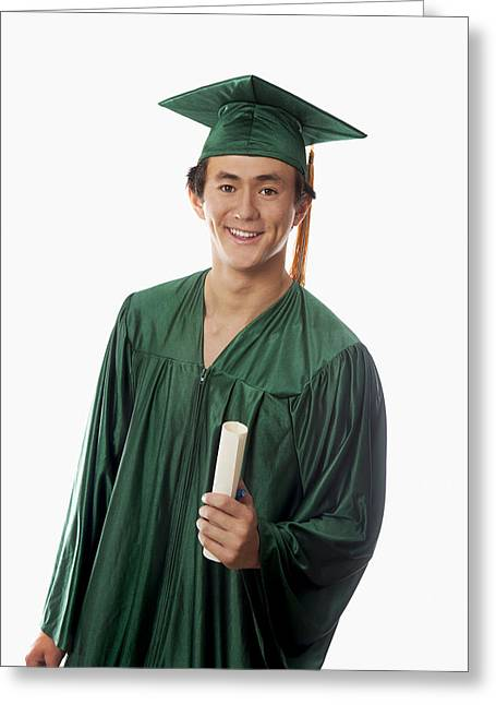 Graduated Background Greeting Cards - Male Graduate Greeting Card by Tomas del Amo