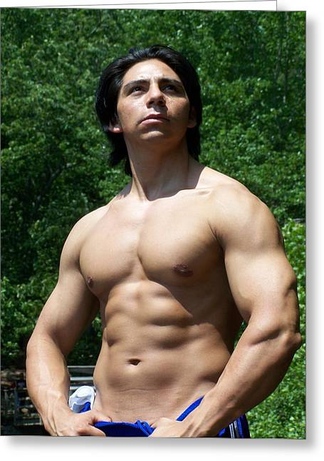 Male Latino Muscle Greeting Card by Jake Hartz