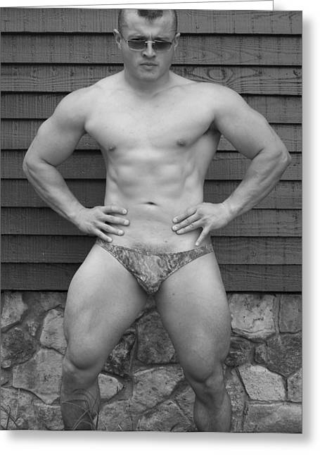 Randy Greeting Cards - Male Muscle Art  Bodybuilder  Greeting Card by Jake Hartz
