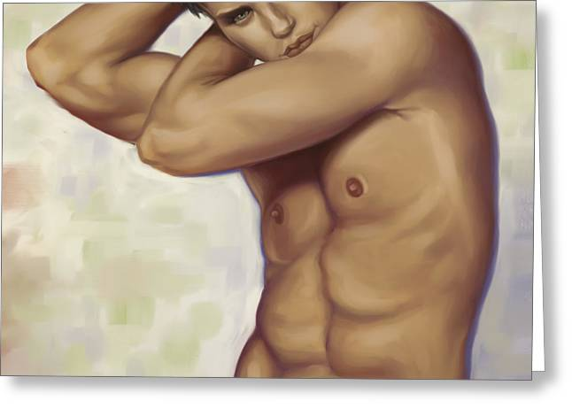 Male Digital Art Greeting Cards - Male nude 1 Greeting Card by Simon Sturge