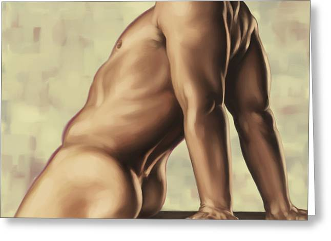 Male Digital Art Greeting Cards - Male nude 2 Greeting Card by Simon Sturge