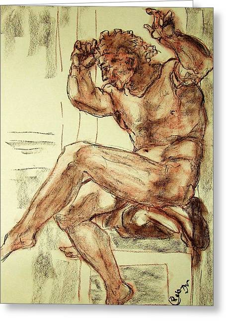 Sepia Chalk Greeting Cards - Male Nude Figure Drawing Sketch with Power Dynamics Struggle Angst Fear and Trepidation in Charcoal Greeting Card by MendyZ M Zimmerman