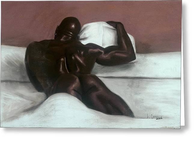 Black Man Pastels Greeting Cards - Male Nude Greeting Card by L Cooper