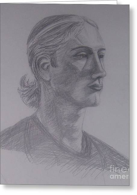 Headshot Drawings Greeting Cards - Male portrait sketch Greeting Card by Emily Young