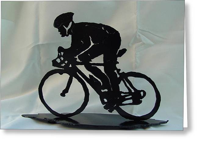 Award Sculptures Greeting Cards - Male road racer Greeting Card by Steve Mudge