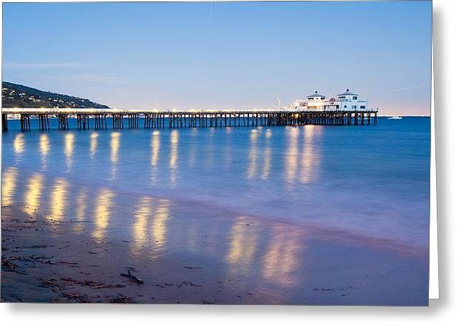 Malibu Pier Reflections Greeting Card by Adam Pender