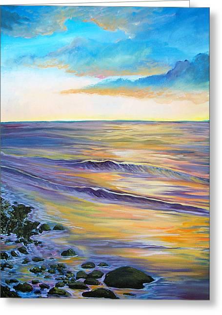 Jenn Cunningham Greeting Cards - Malibu Sunset Greeting Card by Jenn Cunningham