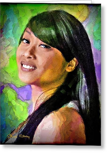 Pretty Brown Eyes Greeting Cards - Mallory Greeting Card by Chuck Staley