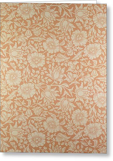Wallpaper Tapestries Textiles Greeting Cards - Mallow wallpaper design Greeting Card by William Morris