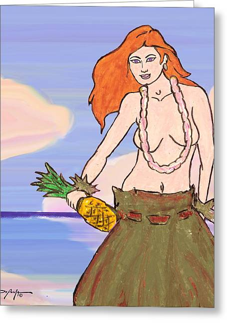 Pineapple Pastels Greeting Cards - Maluhia Hula Girl Greeting Card by William Depaula