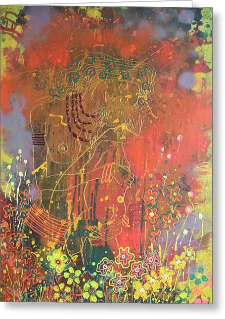 Sacrificial Mixed Media Greeting Cards - Mama Africa Greeting Card by Leon Salako