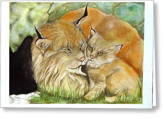 Mama And Baby Lynx Greeting Card by Sandra Valentini