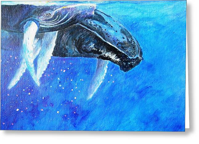 Liberation Greeting Cards - Mama and baby whale Greeting Card by Tamara Tavernier