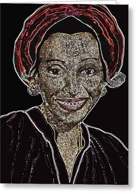 Gold Earrings Greeting Cards - Mama Nura Greeting Card by Duwayne Washington