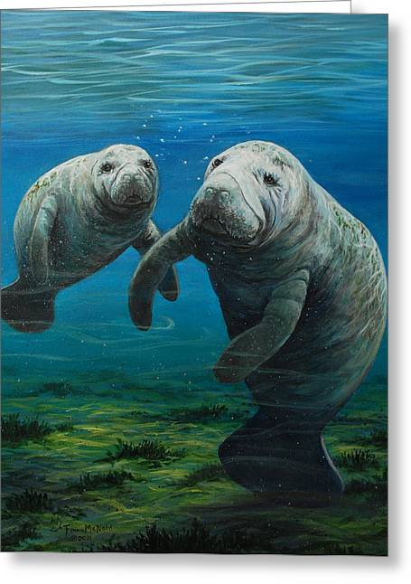 Manatee Greeting Cards - Mamas Baby Greeting Card by Fawn McNeill