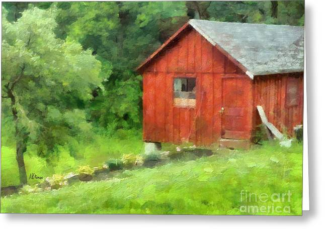 Shed Paintings Greeting Cards - Mamas Potting Shed Greeting Card by Anne Kitzman