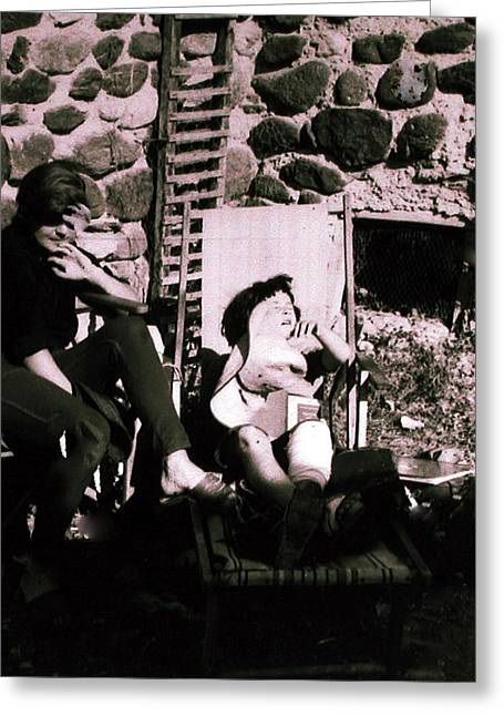 Romaine Greeting Cards - Mamma Chris and Colette having a well deserved rest  siesta in the garden in Alba France  Greeting Card by Colette V Hera  Guggenheim