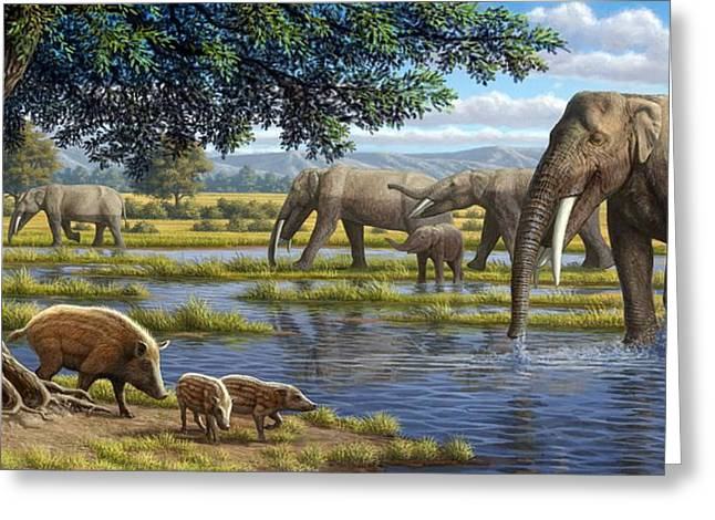Miocene Greeting Cards - Mammals Of The Miocene Era, Artwork Greeting Card by Mauricio Anton