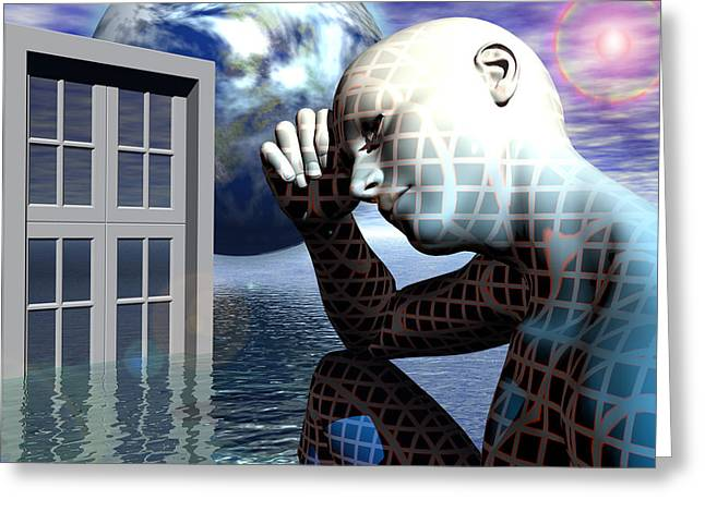 Magical Realism Greeting Cards - Man Alone Within the Death of Reason Greeting Card by Jon D Gemma