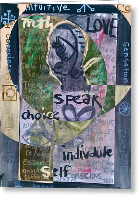 Psychology Drawings Greeting Cards - Man And His Symbols Greeting Card by Ana Julia Fishman