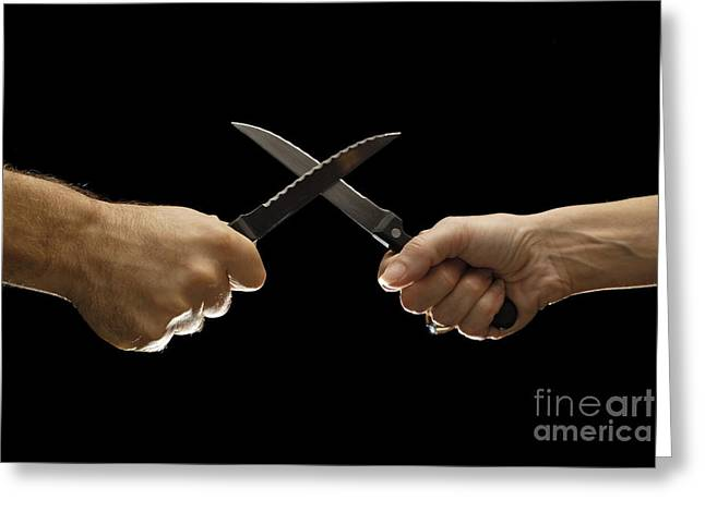 Hands To Face Greeting Cards - Man and woman fighting with domestic knives Greeting Card by Sami Sarkis