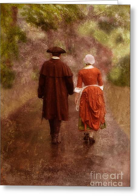 Colonial Man Photographs Greeting Cards - Man and Woman in 18th Century Clothing Walking Greeting Card by Jill Battaglia