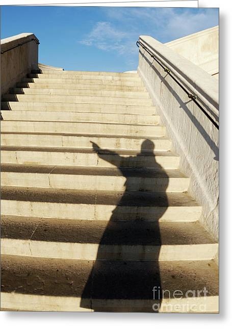 One Mature Man Only Greeting Cards - Man casting shadow on steps Greeting Card by Sami Sarkis