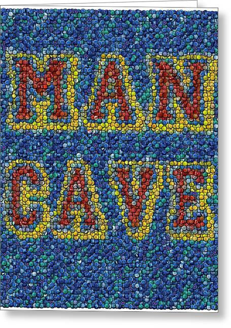 Bottlecaps Mixed Media Greeting Cards - Man Cave Bottle Cap Mosaic Greeting Card by Paul Van Scott