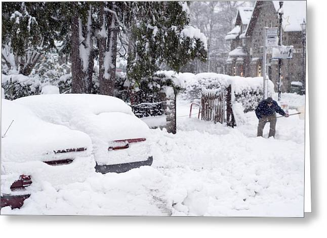 Man Clearing Snow, Braemar, Scotland Greeting Card by Duncan Shaw
