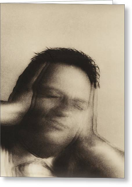 Disability Greeting Cards - Man Covering Ears Greeting Card by Cristina Pedrazzini