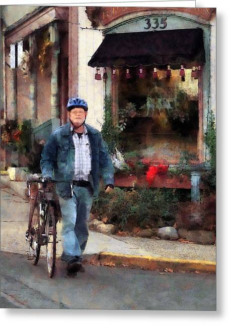 Bicycling Greeting Cards - Man Crossing Street With Bicycle Greeting Card by Susan Savad