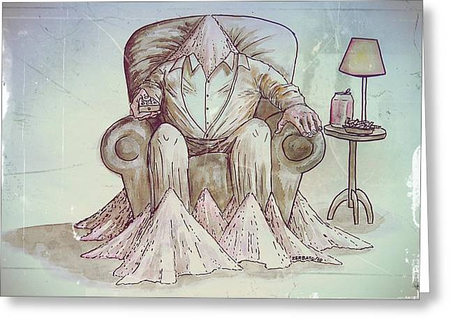 Will Power Greeting Cards - Man Deteriorating Greeting Card by Paulo Zerbato
