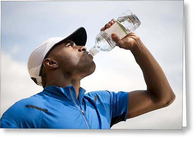 Man Drinking Bottled Water Greeting Card by