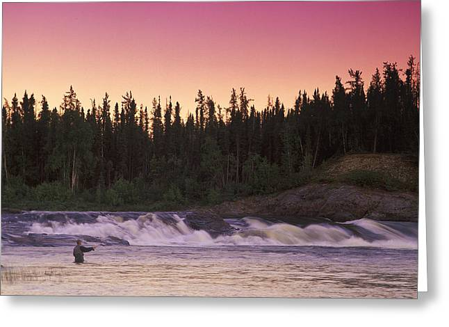 Fishing Creek Greeting Cards - Man Fly-fishing In River Greeting Card by Jason Witherspoon