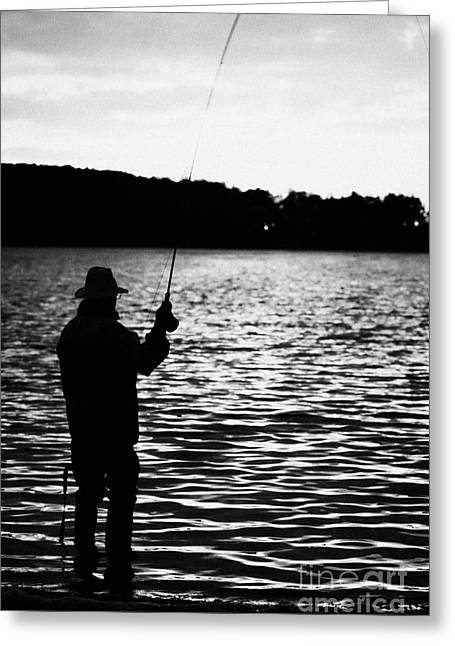 Attract Health Greeting Cards - Man Flyfishing Lake Ireland Greeting Card by Joe Fox