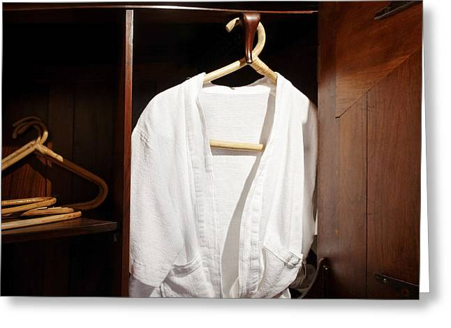Coat Hanger Greeting Cards - Man Friday Bathrobe Greeting Card by Kantilal Patel