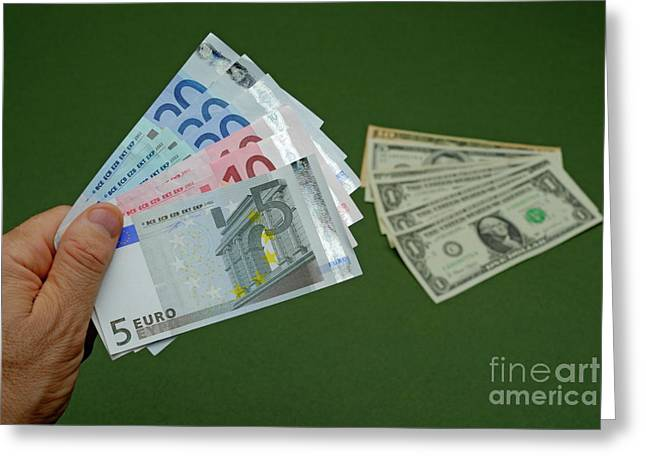 One Mature Man Only Greeting Cards - Man holding Euro banknotes Greeting Card by Sami Sarkis