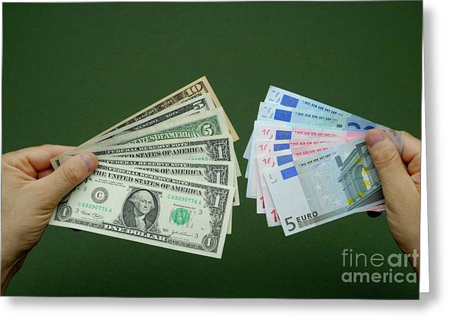 One Mature Man Only Greeting Cards - Man holding fanned out US dollars and Euro banknotes Greeting Card by Sami Sarkis