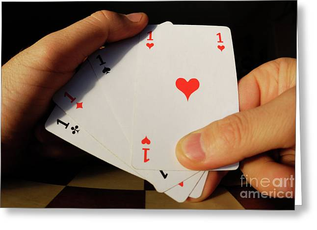 Four Aces Greeting Cards - Man holding four Aces cards in hand Greeting Card by Sami Sarkis