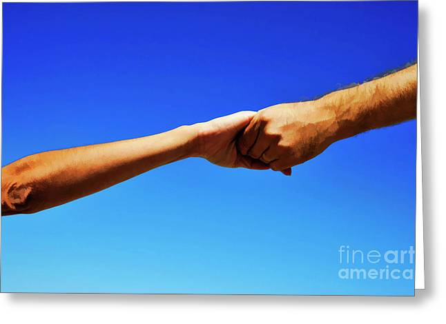 Bonding Greeting Cards - Man holding womans hands Greeting Card by Sami Sarkis