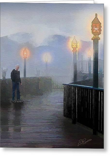 Man In A Fog Greeting Card by Suni Roveto