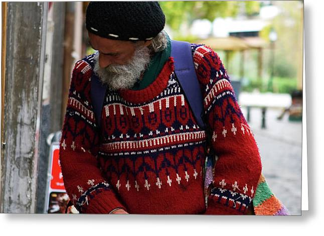 Man in a Red Sweater Greeting Card by Lorraine Devon Wilke