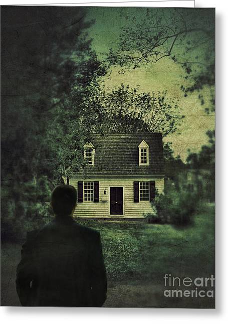 Clapboard House Greeting Cards - Man in Front of Cottage Greeting Card by Jill Battaglia
