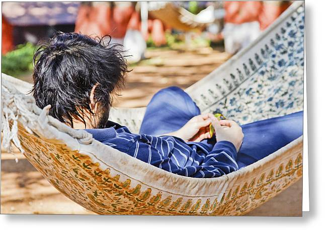Recently Sold -  - Man Dressed In Black Greeting Cards - Man in Hammock Greeting Card by Kantilal Patel